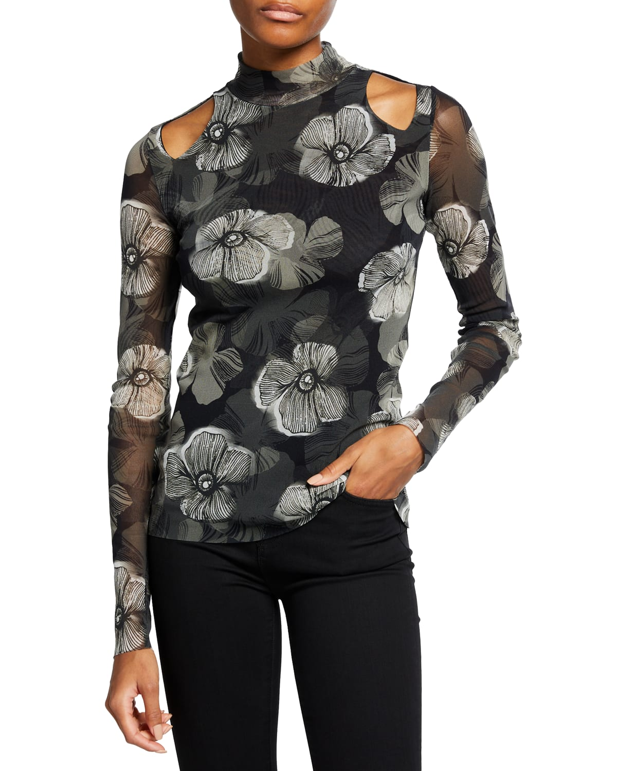 Small Floral Deco Tulle Cold-Shoulder Top