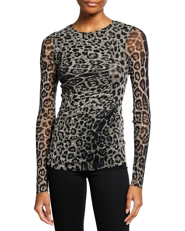 Animal-Print Shirred Long-Sleeve Top