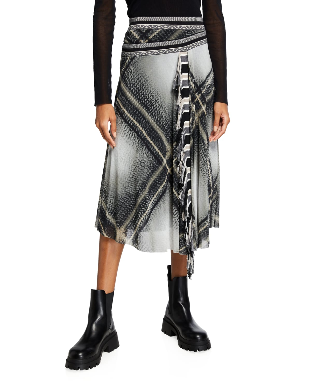 Tartan-Print Faux-Wrap Fringed Skirt