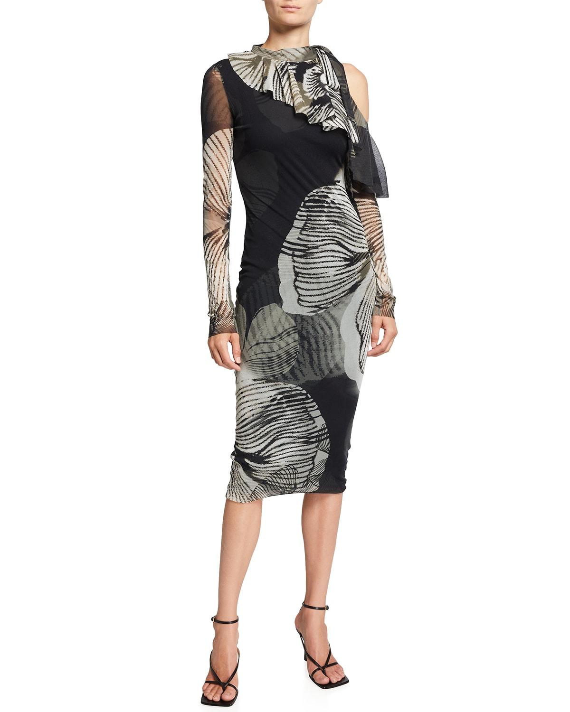 Big Floral Deco Ruffle Cutout-Shoulder Dress