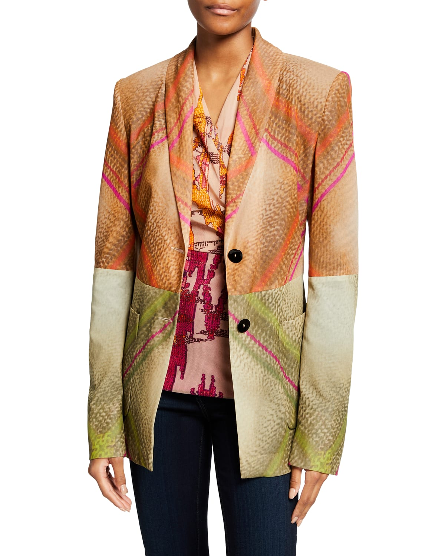 Patchwork Tartan-Print Tulle Jacket