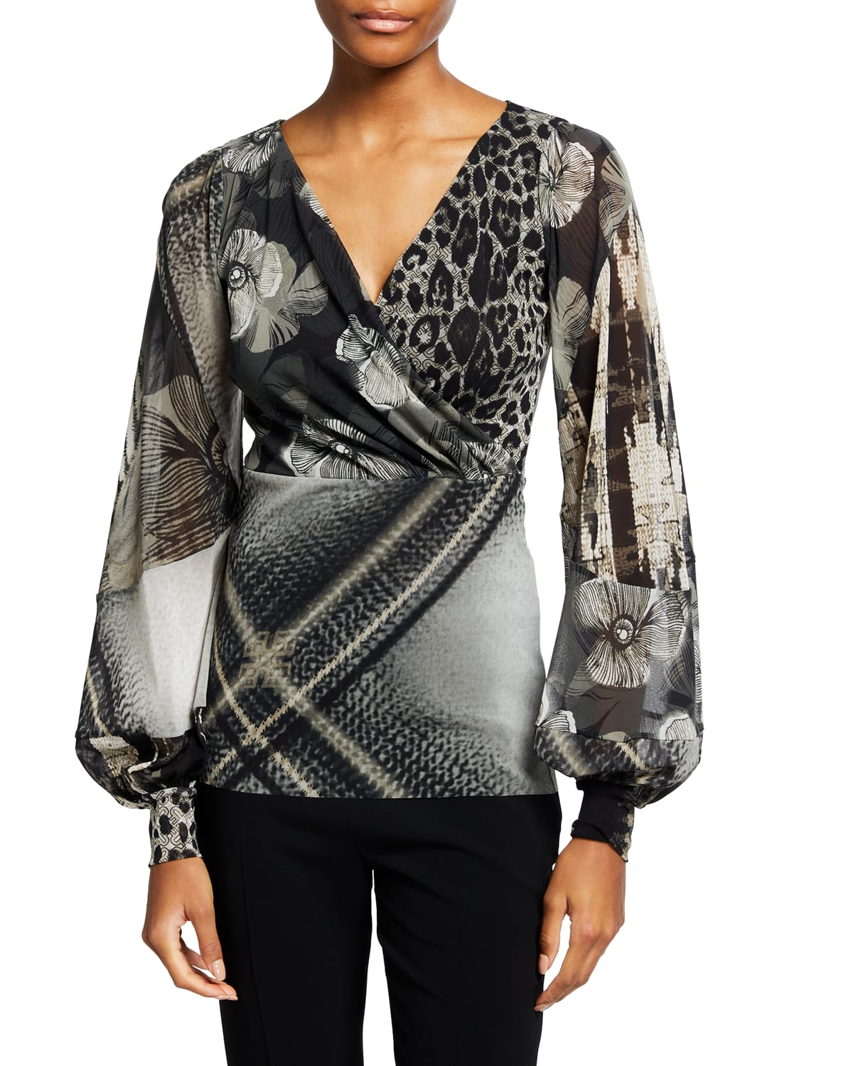 Patchwork Printed Tulle Blouson-Sleeve Top