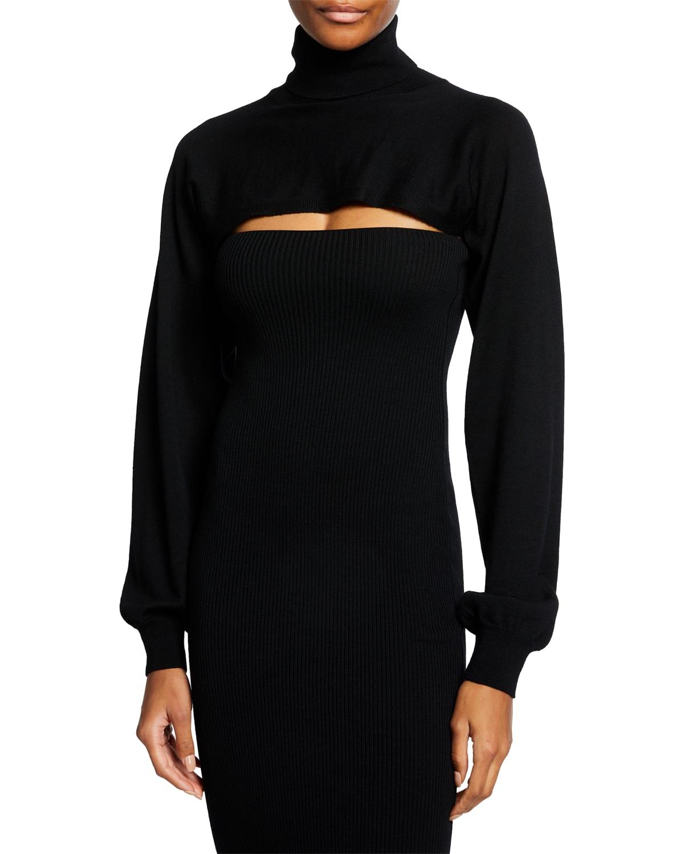 Long-Sleeve Wool Turtleneck Cutout Dress