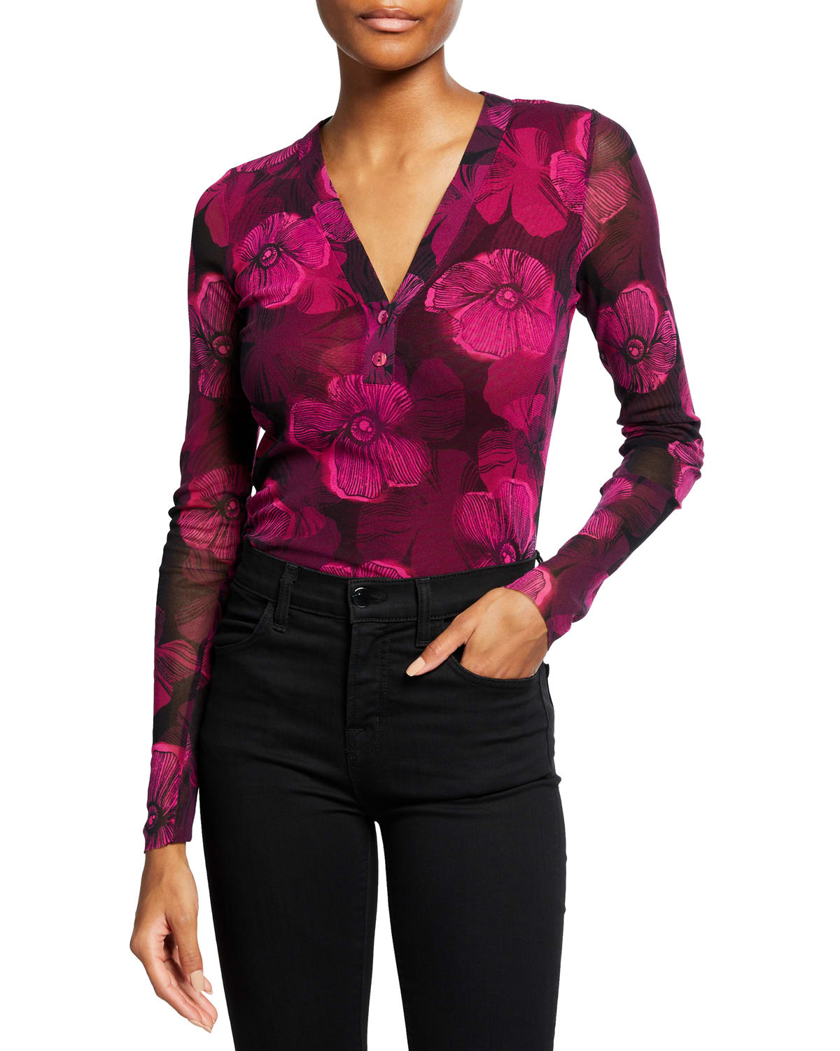 Small Floral Deco Long-Sleeve Henley Top