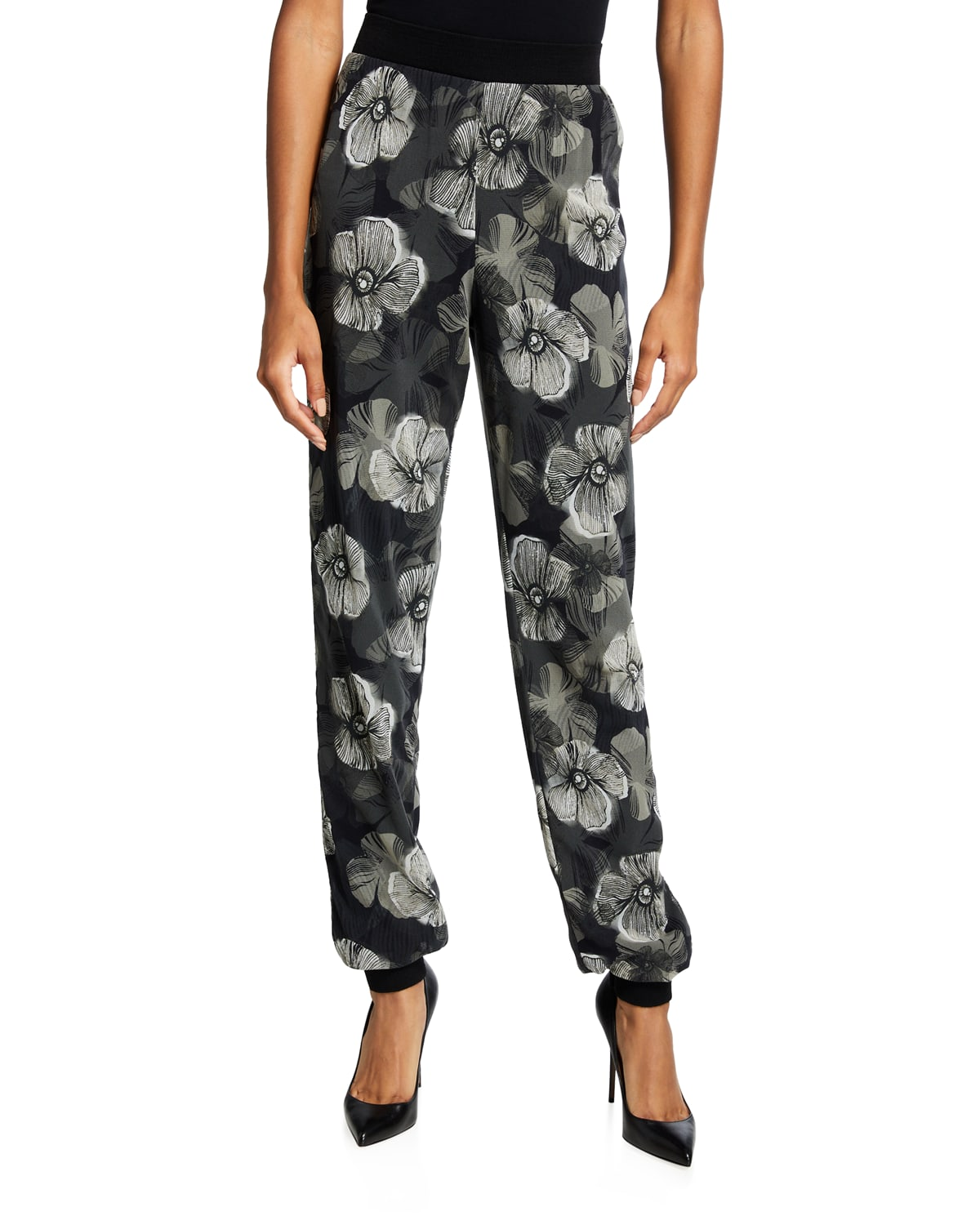 Small Floral Deco Tulle Jogger Pants