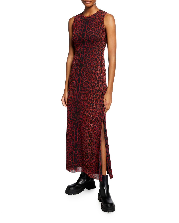 Animal-Print Sleeveless Long Dress
