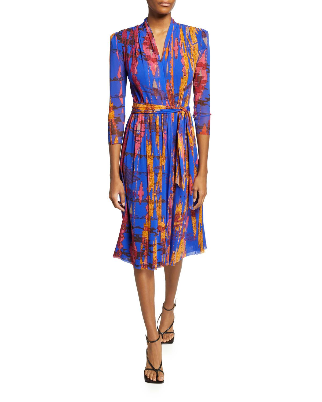 Ikat Geo-Print V-Neck Faux Wrap Dress