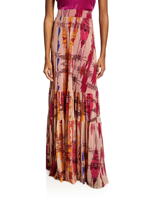 Ikat Geo-Print High-Waist Ruffle Maxi Skirt