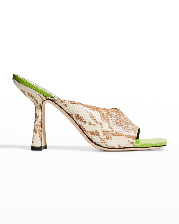 Zaya Snake-Print Slide High-Heel Sandals