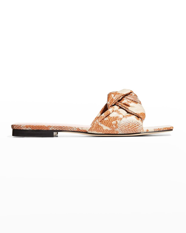 Lima Knotted Snake-Print Slide Sandals