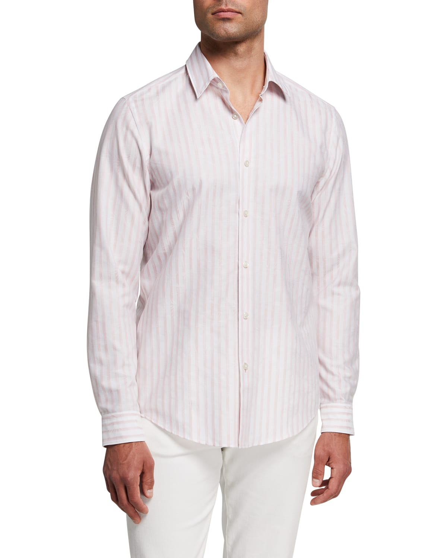 Men's Striped Jacquard Button-Down Shirt