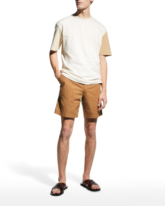 Men's Solid Stretch-Cotton Drawstring Shorts
