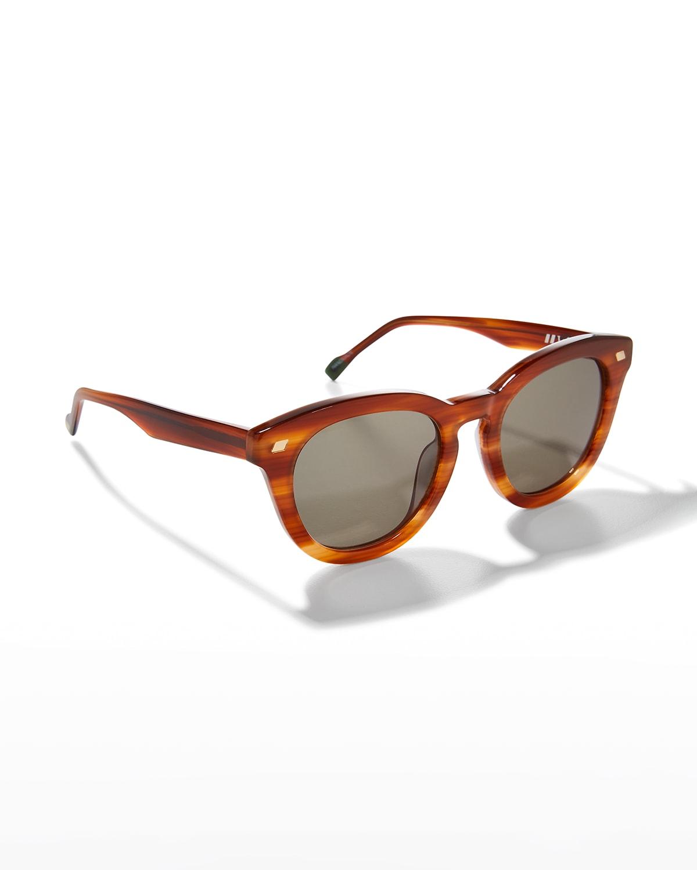 Over Over Studded Round Plastic/Metal Sunglasses