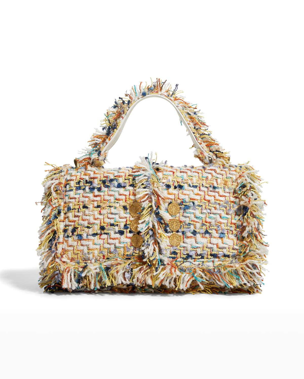 Multicolor Tweed Fringe Top-Handle Shoulder Bag