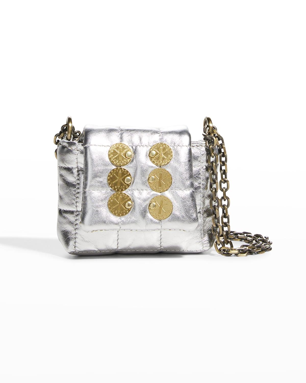 Metallic Faux-Leather Tiny Crossbody Bag