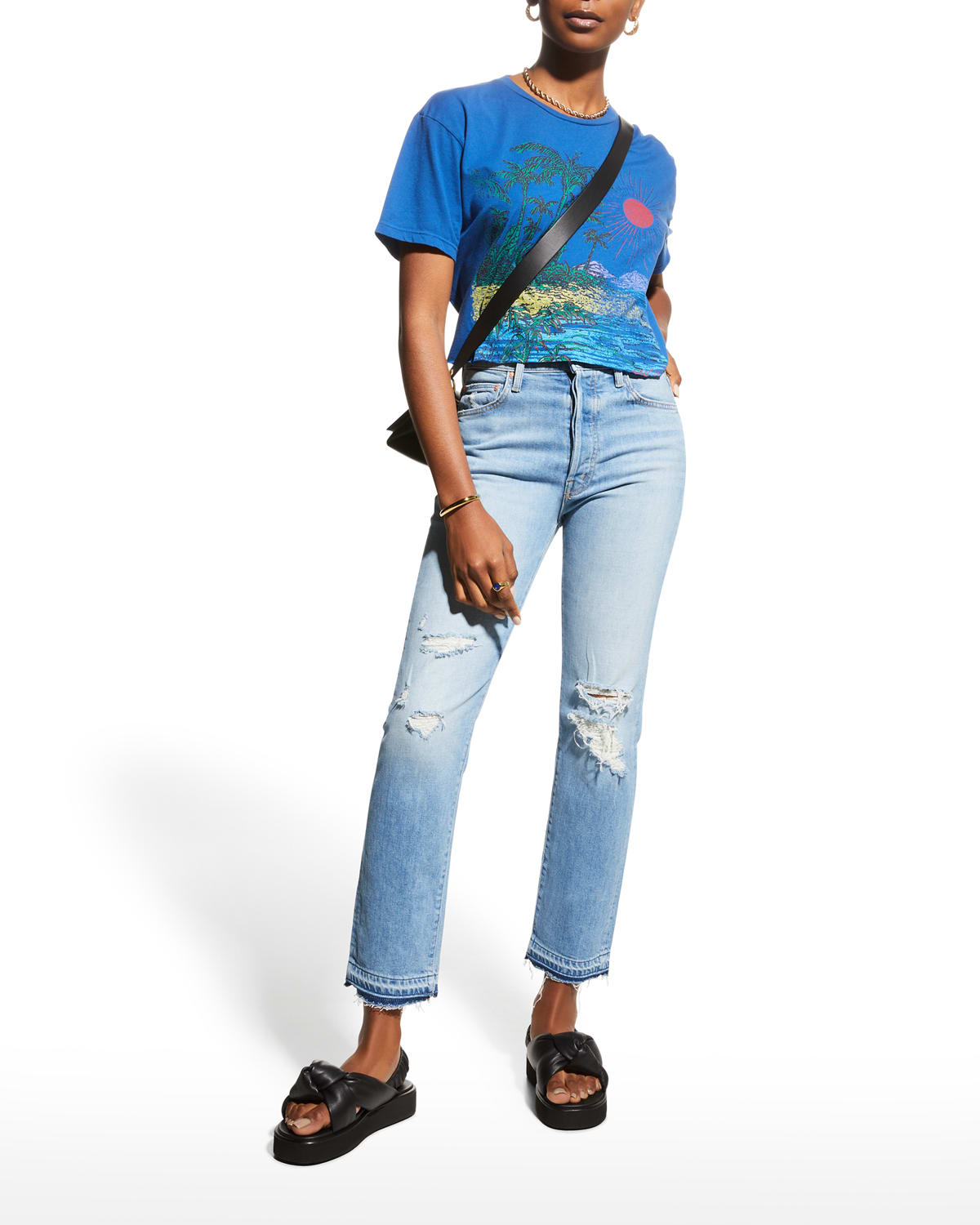 The High-Waisted Hiker Hover Jeans with Undone Hem