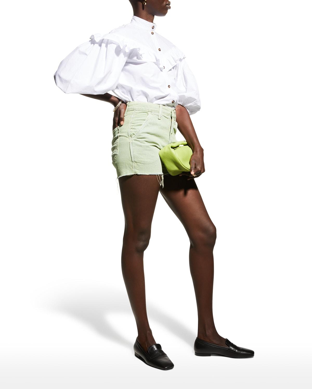 The High-Waisted Utility Shorts with Frayed Hem