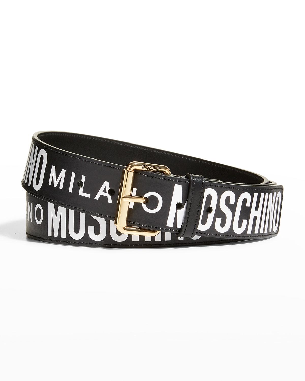 Men's Repeat-Logo Leather Belt