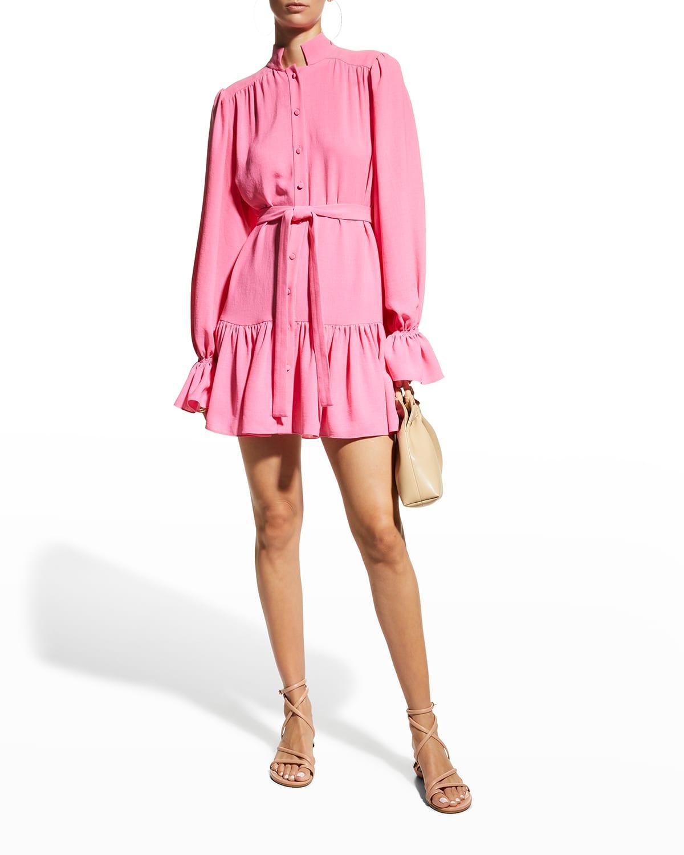 Lea Button-Front Flounce Dress