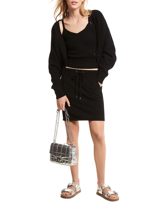 Knit Drawstring Miniskirt