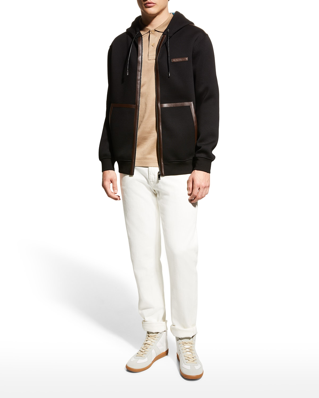 Men's Zip Hoodie with Leather Trim