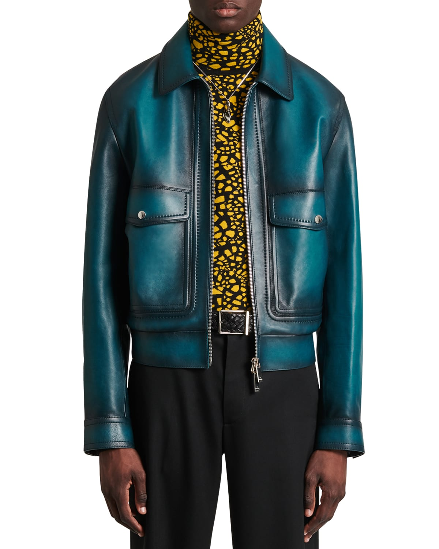 Men's Alpine Leather Bomber Jacket