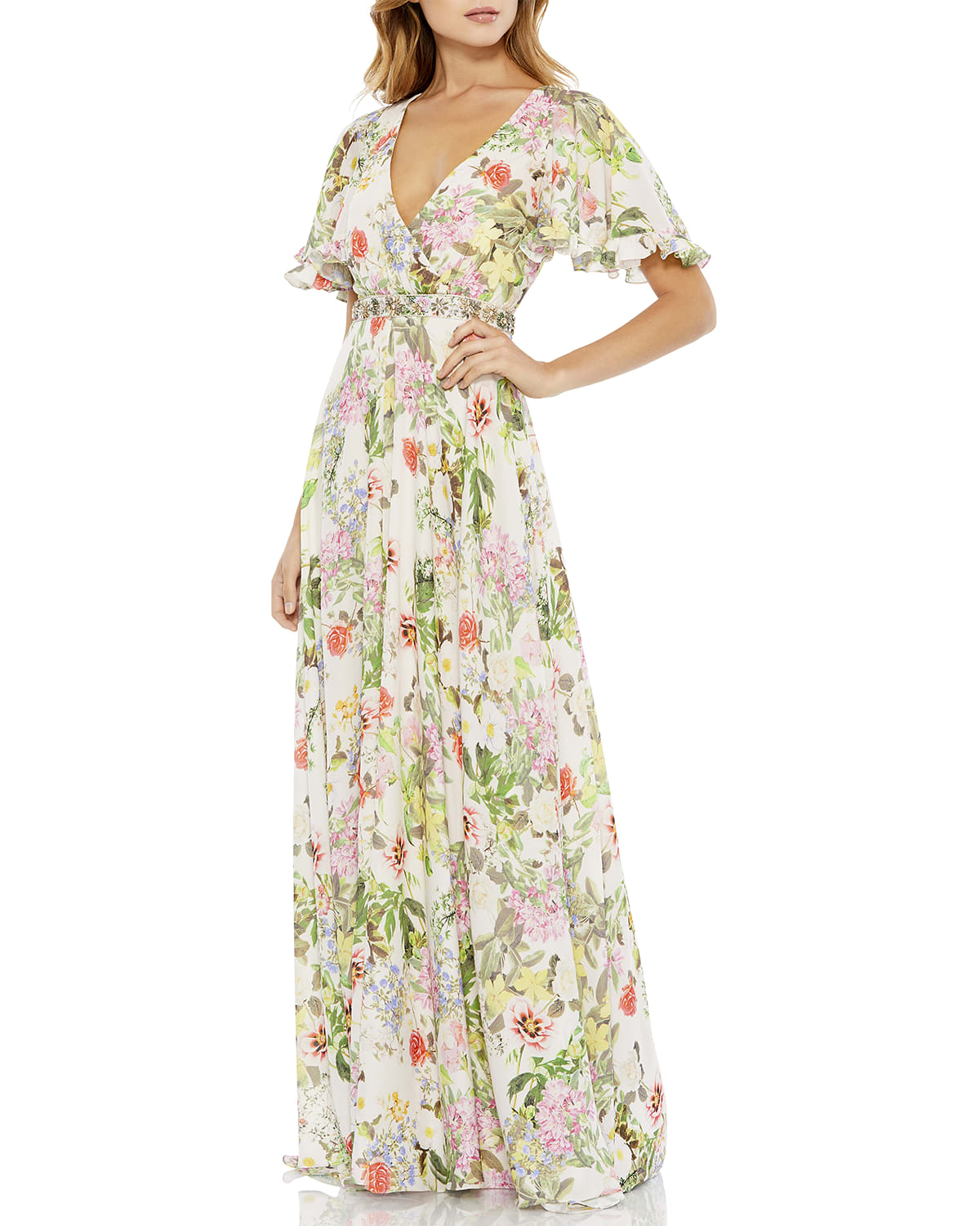 Floral Chiffon Beaded-Waist Gown