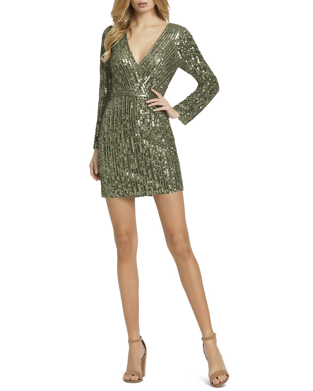 Long-Sleeve Sequin Disco Mini Dress