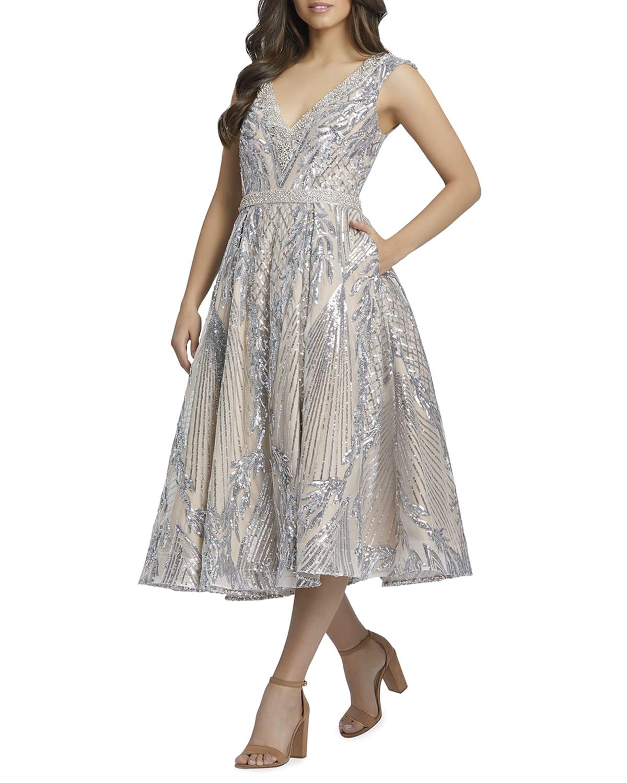 V-Neck Sequin Damask Midi Dress