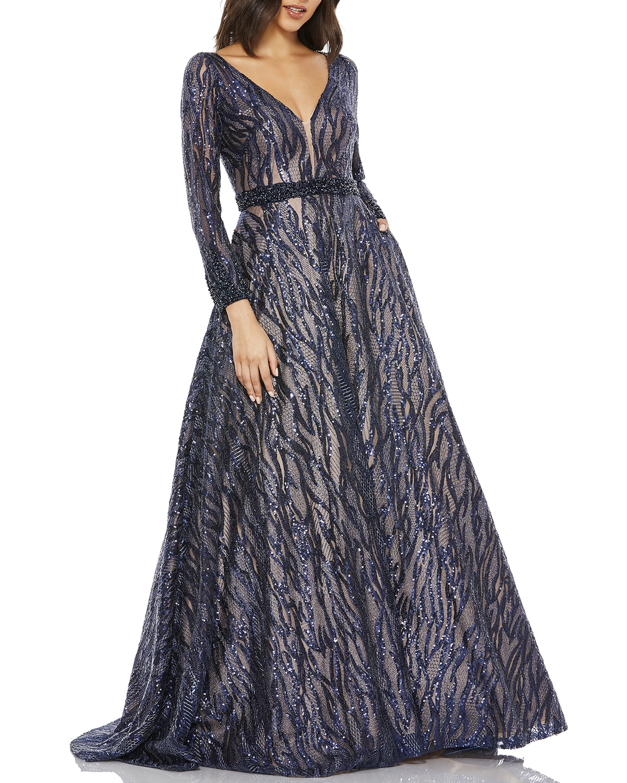 Novelty Sequin Long-Sleeve Ball Gown