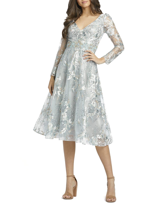 Sequin Embellished Long-Sleeve Midi Dress