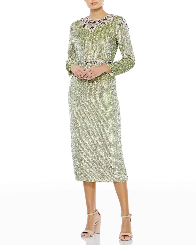 Sequined Long-Sleeve Sheath Dress