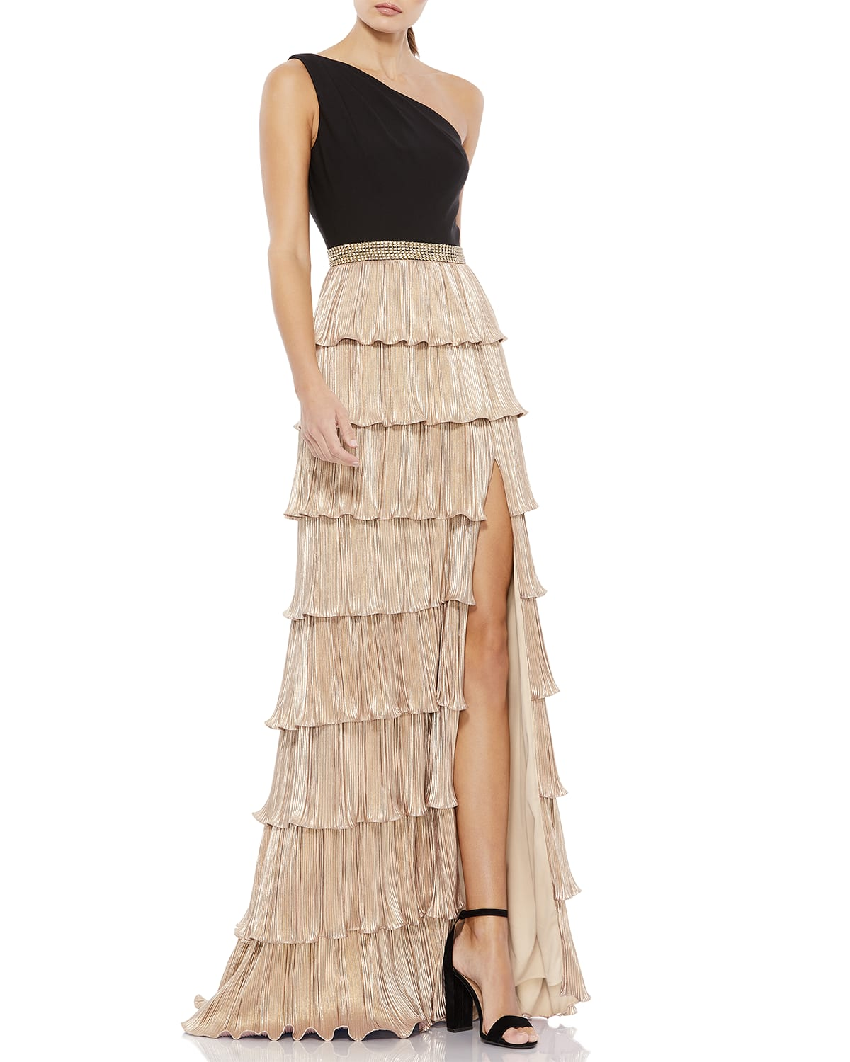 One-Shoulder Metallic Ruffle-Tiered Gown