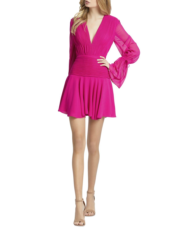 Blouson-Sleeve Pleated-Bodice Mini Dress