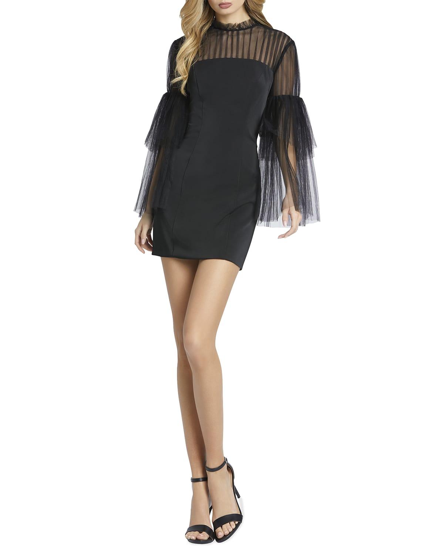 Ruffle-Sleeve Illusion Mini Dress