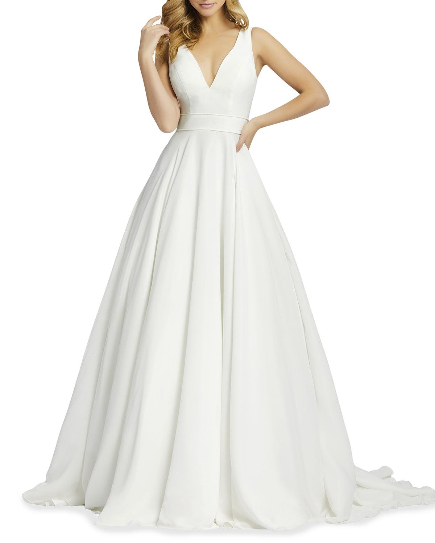 Plunging Sleeveless Chiffon Ball Gown