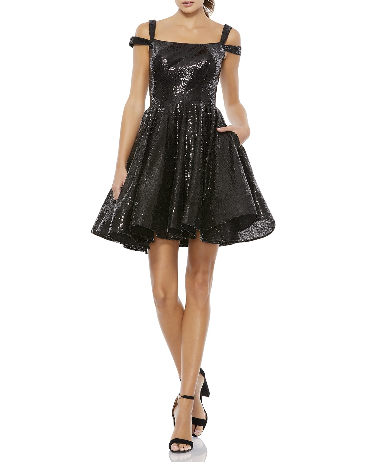 Double-Strap Sequin Fit-&-Flare Dress