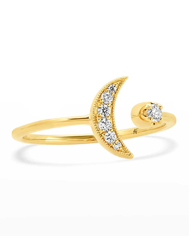 18k Diamond Open Band Moon Ring