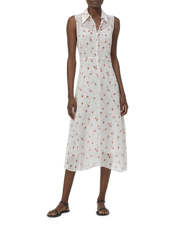Bernadene Cherry-Print Silk Midi Dress