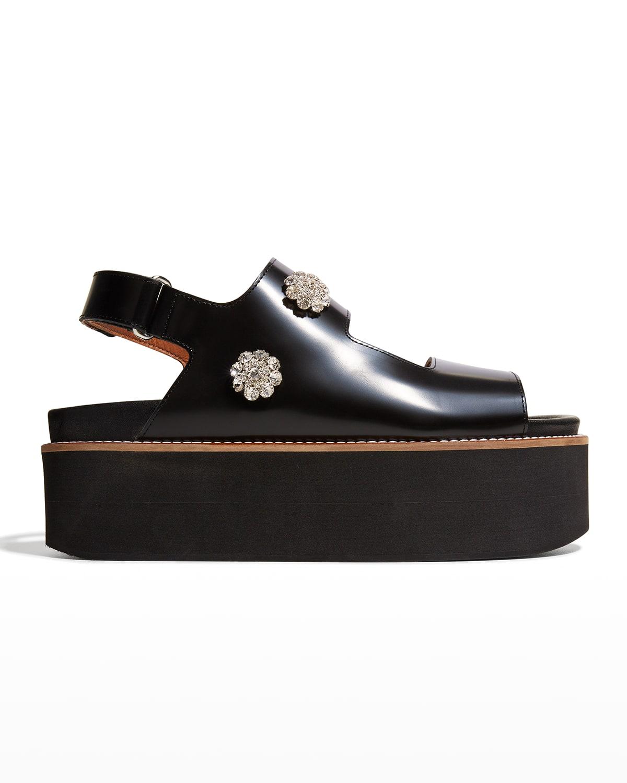 Polido Crystal Leather Slingback Platform Sandals