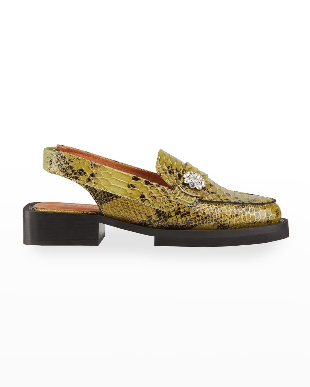 Python-Print Slingback Loafers