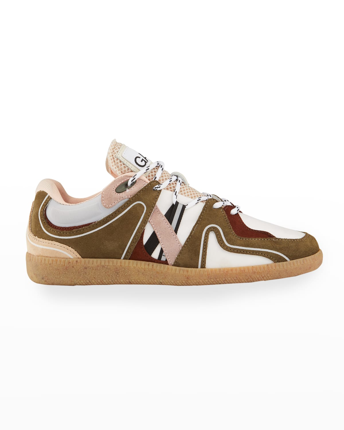 Colorblock Mixed Leather Low-Top Sneakers