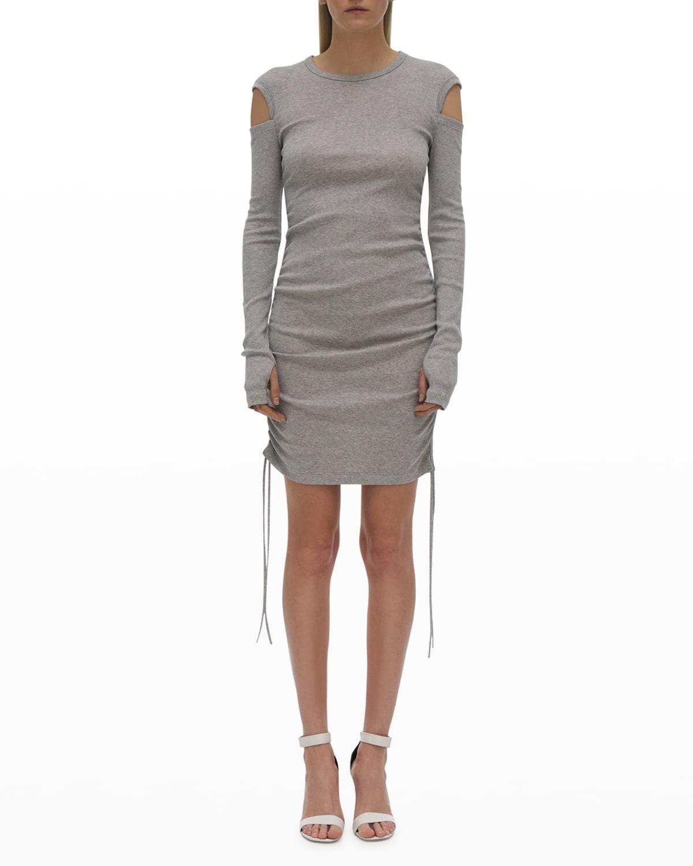 Ribbed Cold-Shoulder Lacing Dress