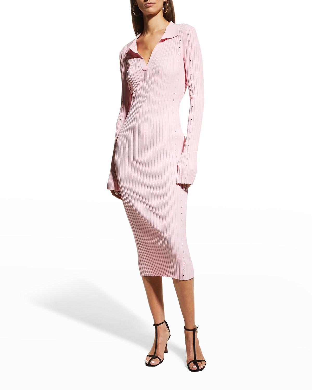 Slash Long-Sleeve Ribbed Dress