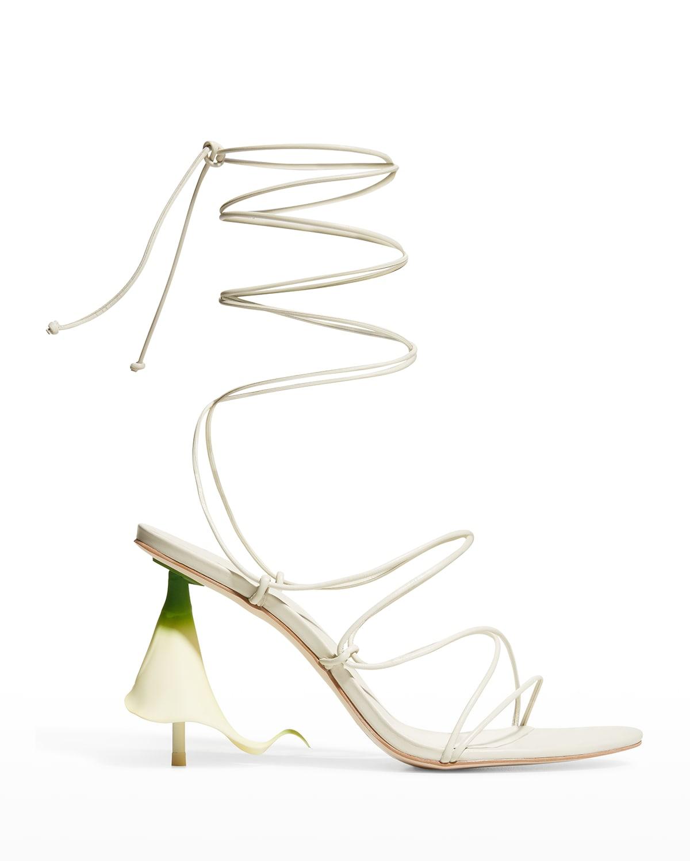 Cali Floral-Heel Strappy Gladiator Sandals