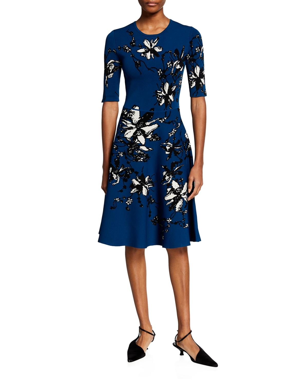Floral Fit-&-Flare Midi Dress