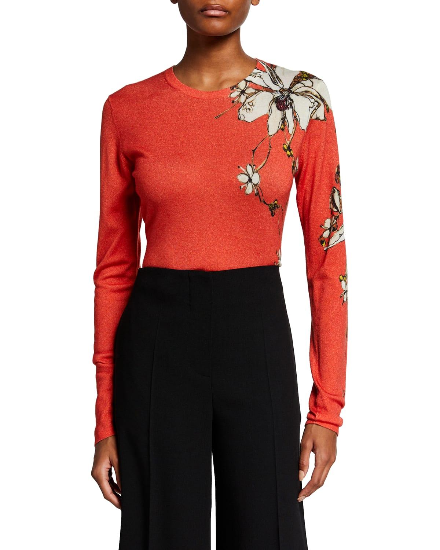 Floral-Print Cashmere-Silk Sweater