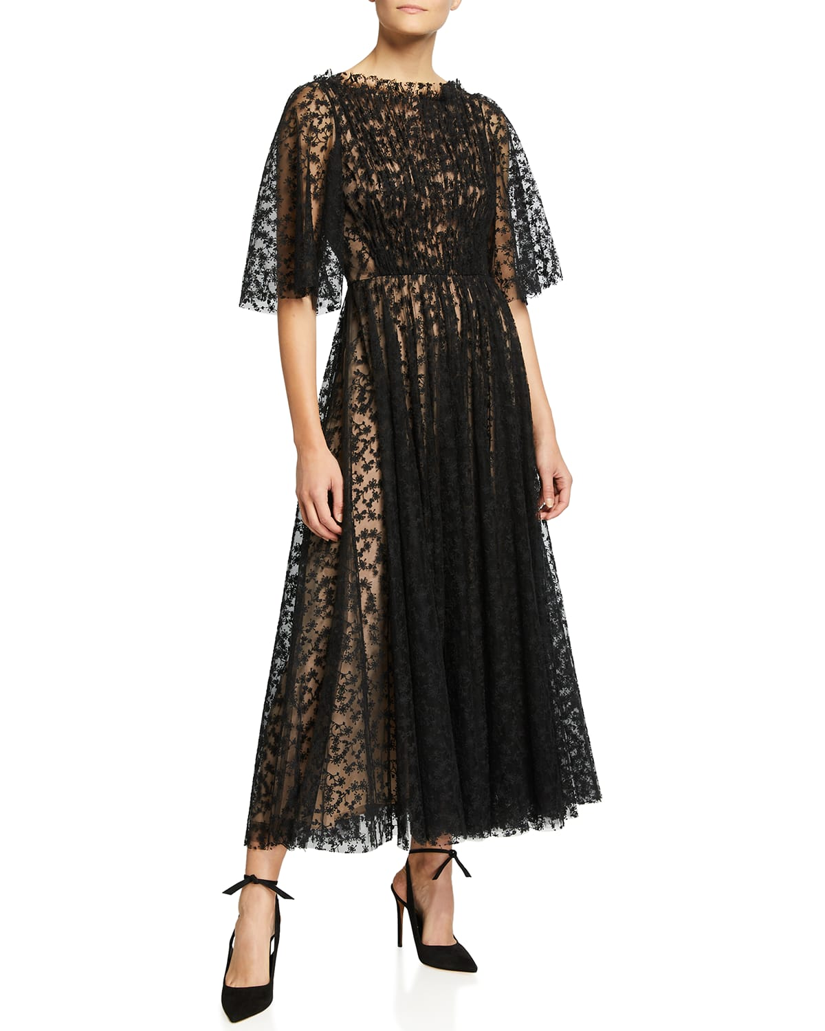 Tossed Floral-Embroidered Tulle Midi Dress