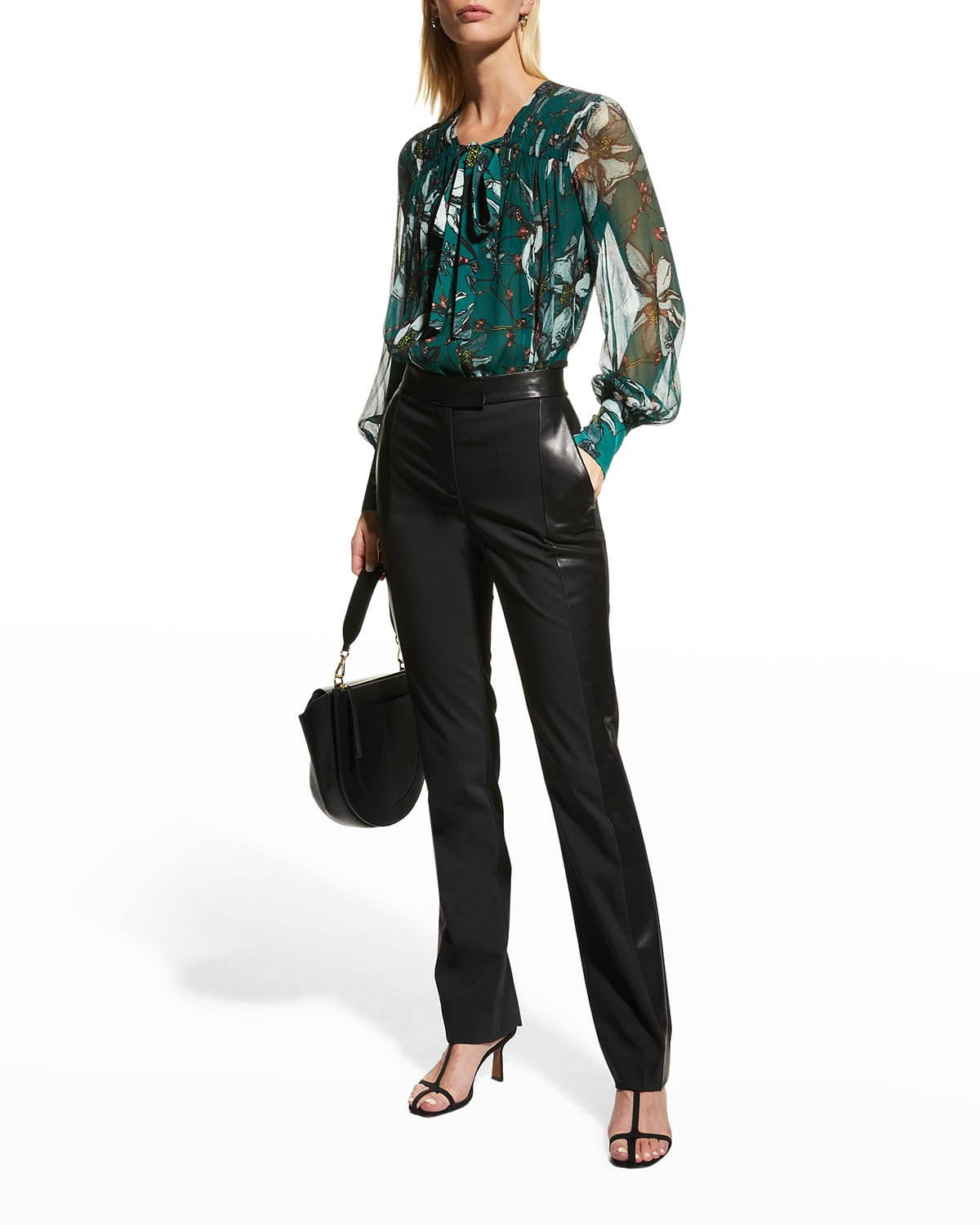 Floral-Printed Chiffon Neck-Tie Blouse