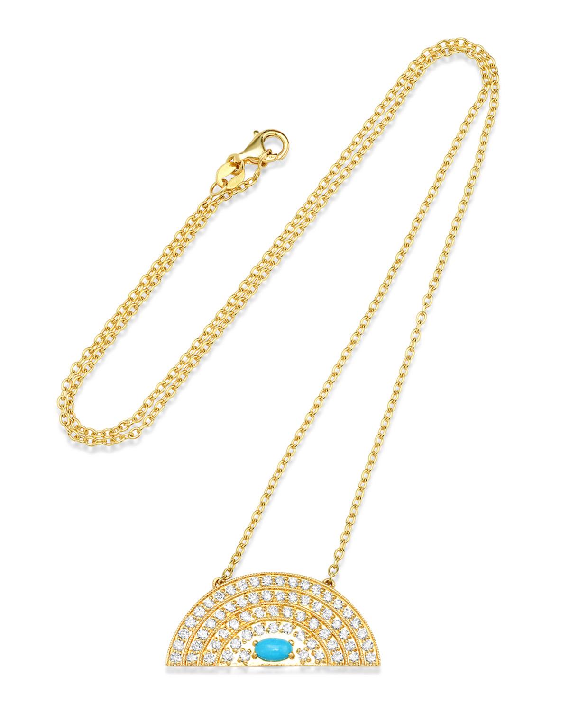 Medium Diamond & Turquoise Rainbow Necklace